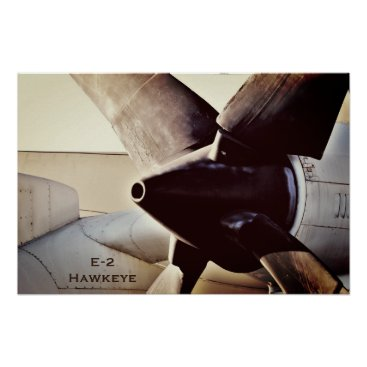 E-2 Hawkeye Military Propeller Airplane Poster