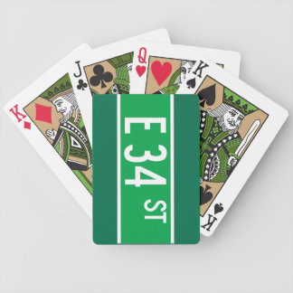E 34 St., New York Street Sign Bicycle Playing Cards