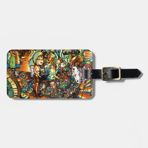 E Bent Psychedelic Art Bag Tags