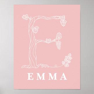 E Botanical Floral Monogram Custom Nursery Poster