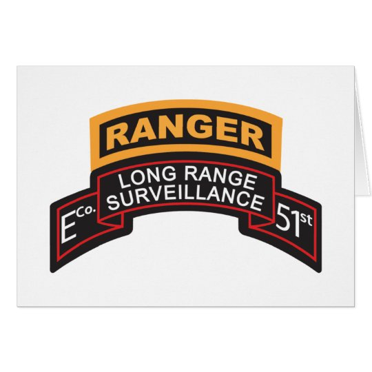 E Co 51st Infantry LRS Scroll, Ranger Tab Card
