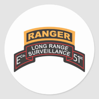 E Co 51st Infantry LRS Scroll, Ranger Tab Classic Round Sticker