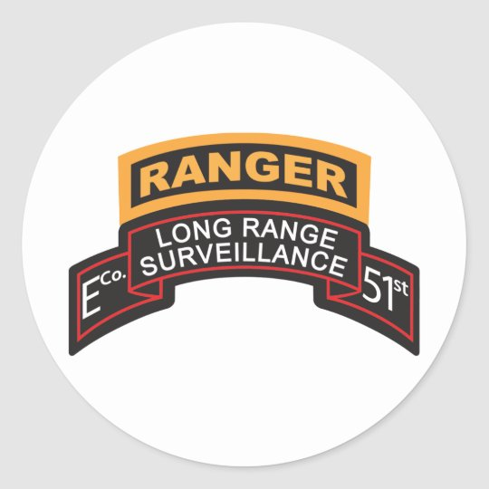 E Co 51st Infantry LRS Scroll, Ranger Tab Classic Round Sticker