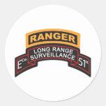 E Co 51st Infantry LRS Scroll, Ranger Tab Round Sticker