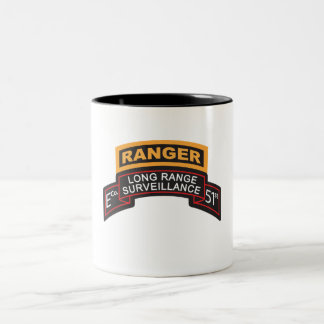 E Co 51st Infantry LRS Scroll, Ranger Tab Two-Tone Coffee Mug