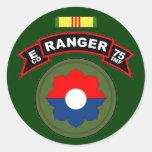 E Co, 75.o regimiento de infantería - Pegatina Redonda