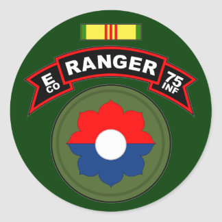 E Co, 75th Infantry Regiment - Rangers, Vietnam Classic Round Sticker