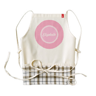 e Cute Pink Polka Dot Circle Custom Name A01 Zazzle HEART Apron