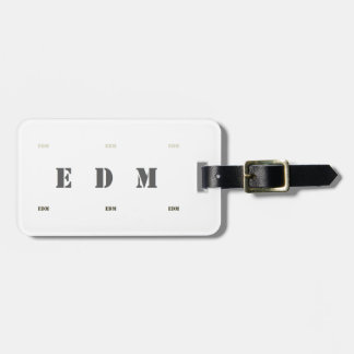 :: E D M :: Luggage Tag w/ leather strap