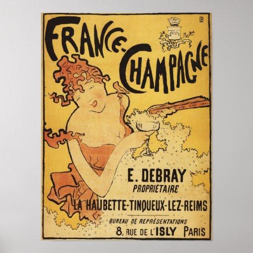 E. Debray Champagne Advertisement Poster
