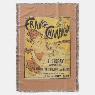 E. Debray Champagne Advertisement Poster Throw Blanket