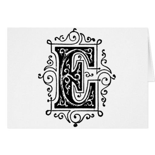 E Decorative Letter Greeting Card