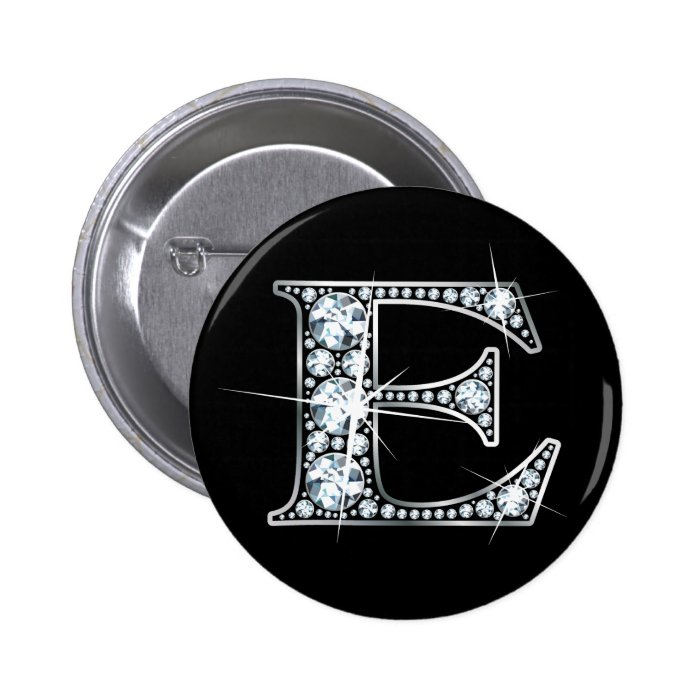 """E"" Diamond Bling Button"