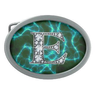"""E """"Diamond"""" Monogram on Lightning Bolt Oval Belt Buckle"""