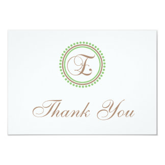 E Dot Circle Monogam Thank You Cards (Brown/Mint)
