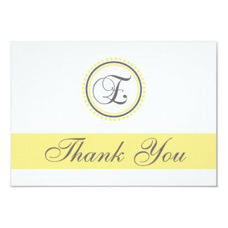 E Dot Circle Monogam Thank You Cards (Yellow/Gray)
