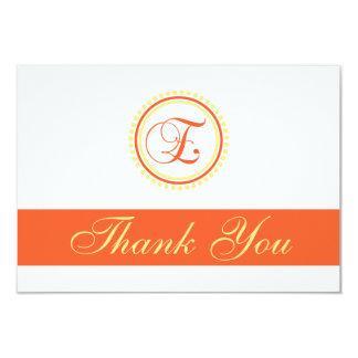 E Dot Circle Monogam Thank You (Orange / Yellow) Card