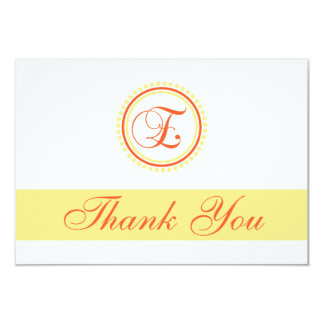 E Dot Circle Monogam Thank You (Orange / Yellow) 3.5x5 Paper Invitation Card