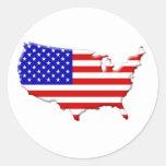 E.E.U.U.-bandera-país-biselado-borde Etiquetas Redondas
