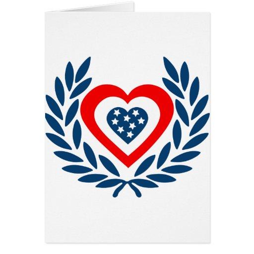 E.E.U.U.-laurel-corazón Tarjeta De Felicitación