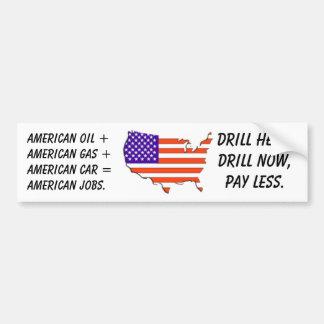 E E U U -mapa-bandera aceite americano +Gas ameri Etiqueta De Parachoque