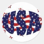 E.E.U.U.-Patriótico Etiqueta Redonda