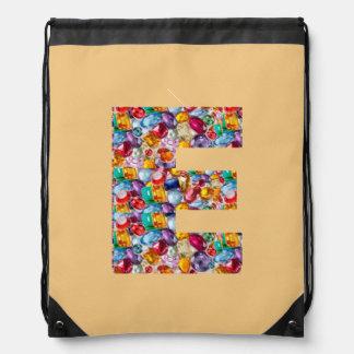 e ee eee alpha initial name Birthday HappyBirthday Drawstring Backpack