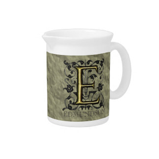 E - Embossed Vintage Monogram (Gold) Beverage Pitcher