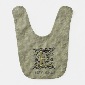 E - Embossed Vintage Monogram (Gold) Bib