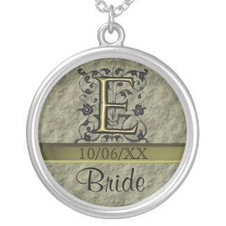 E - Embossed Vintage Monogram (Gold) Round Pendant Necklace