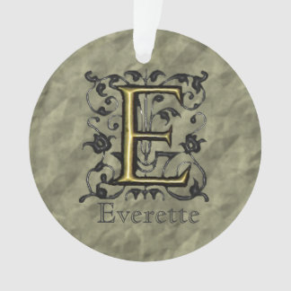 E - Embossed Vintage Monogram (Gold) Ornament