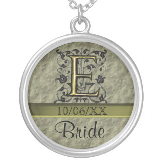 E - Embossed Vintage Monogram (Gold) Silver Plated Necklace