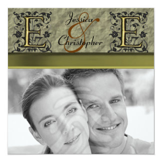E - Embossed Vintage Monogram (Gold) (Wedding) Card