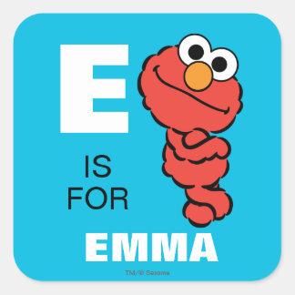 E está para Elmo Pegatina Cuadrada