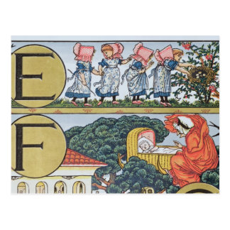 E-F, de un alfabeto basado en poesías infantiles Tarjeta Postal