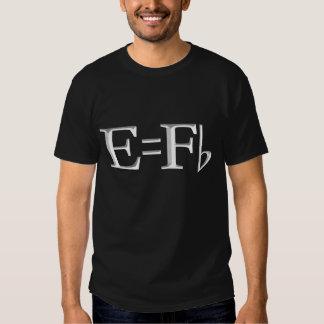 e=f flat  on dark t-shirt
