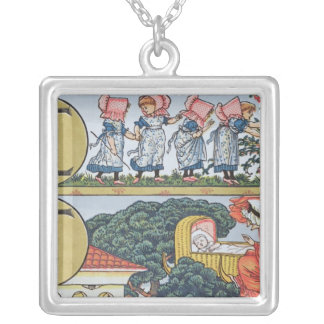 E-F,from an Alphabet based on Nursery Rhymes Silver Plated Necklace