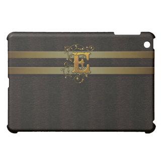 E Faux Leather Satin Gold Monogram  Case For The iPad Mini