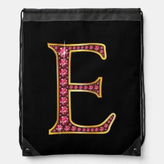 "E Faux-""Ruby"" Monogram Drawstring Backpack"