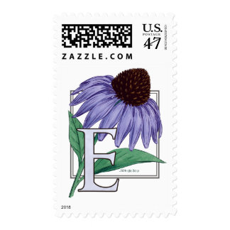 E for Echinacea Flower Monogram Postage