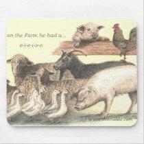 e-i-e-i-o-o Farm Animals Mousepad