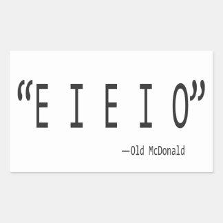 E I E I O RECTANGULAR STICKER