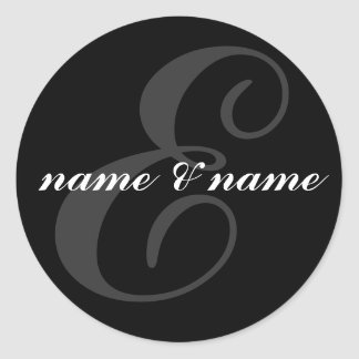 E initial label classic round sticker