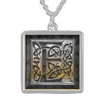 "E Initial Monogram ""Celtic Black Stone"" Necklaces"