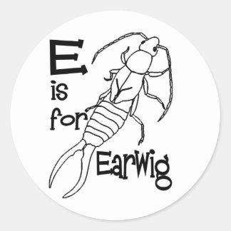 e is for earwig.jpg round sticker