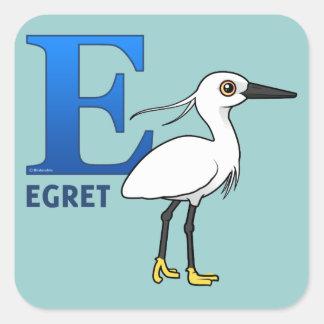 E is for Egret Square Sticker