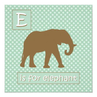 """""""E"""" is for Elephant Baby Shower Invitations"""
