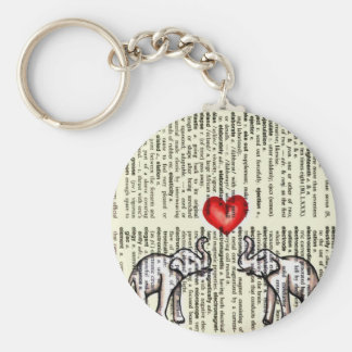 E is for Elephant Dictionary Page (K.Turnbull Art) Basic Round Button Keychain