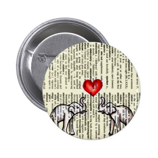 E is for Elephant Dictionary Page (K.Turnbull Art) 2 Inch Round Button
