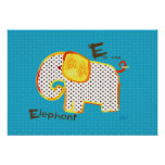 'E is for elephant ' digital painting poster